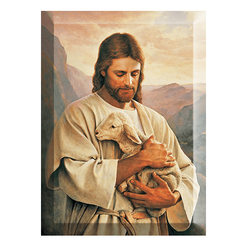 Jezus z barankiem - wizerunek w krysztale