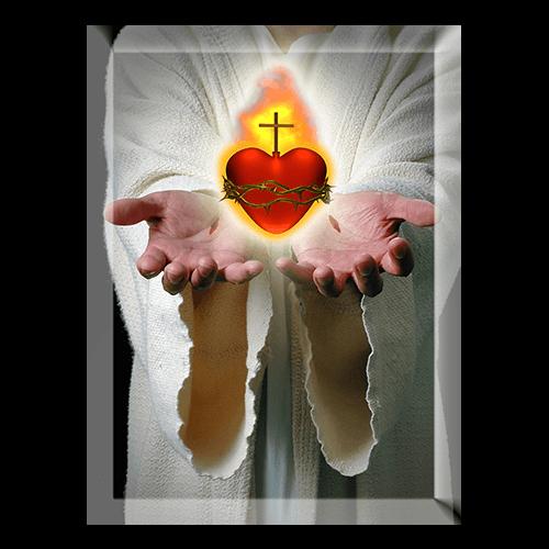 Serce i dłonie - obraz w krysztale